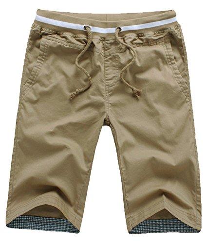 Youhan Men's Summer Casual Cotton Fitted Short Medium Khaki Medium Casual Shorts