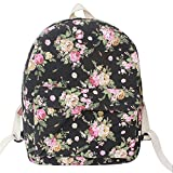 EUBUY rose flower print korean pattern women girls canvas backpack laptop school bookbag travel shoulder backpack