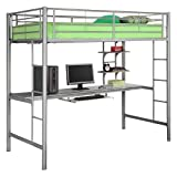 Metal Workstation Bunk Bed - Silver (Twin)