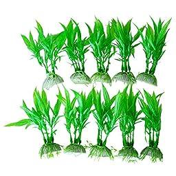 10Pcs Plastic Artificial Green Plants Aquarium Tank Plants Grass Decoration