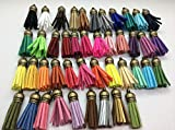 44pcs of Multi-Colors Leather Tassel with Bronze Caps Cell Phone Straps/DIY Charms