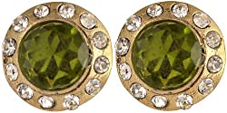 Exotic India Green Tops with Cut Glass (earrings) - Copper Alloy with Cut Glass