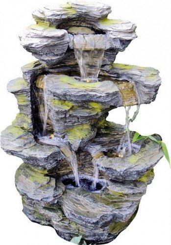 Garten & Deko 841 Kinay Fontaine à cascades avec pompe et éclairage LED