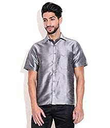 Vivyaan Grey color Solid Pattern Men's party wear shirts