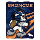 NFL Denver Broncos Mickey Mouse Ultra Plush Micro Super Soft Raschel Throw Blanket