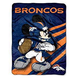 NFL Denver Broncos Mickey Mouse Ultra Plush Micro Super Soft Raschel Throw Blanket by Northwest