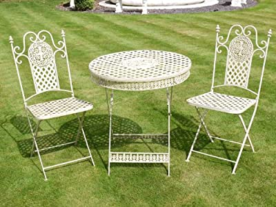 Antique White Wrought Iron 3 Piece Bistro Style Garden Patio Furniture Set
