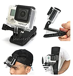 360'Rotary Backpack Hat Rec-Mounts Clip Clamp Mount GoPro Hero2 3 3+ Camera