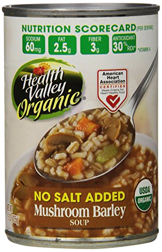 Health Valley Organic No Salt Added Soup, Mushroom Barley, 15 Ounce (Pack of 12) (Can Mushroom compare prices)