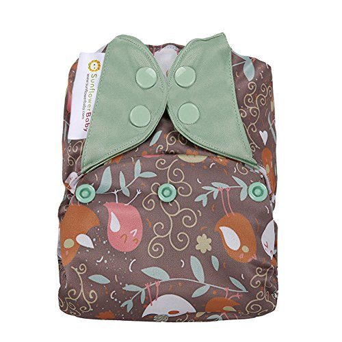 Sunflowerbaby Stay Dry One Size Prints Cloth Diaper, Flying Birds