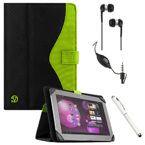 Soho Padfolio Smart Stand Alone Cover Case Durable Premium Design For Sony Xperia S / Z Android 9.4-Inch Touch Screen Mobile Tablet Computer + Crystal Clear High Quality Hd Noise Filter Ear Buds Earphones Headphones With Mic ( 3.5Mm Jack ) + Professor Pen