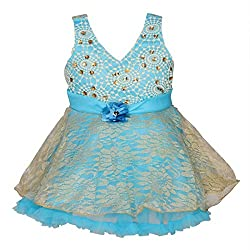 ChipChop Blue Party wear Empire Waist Round Neck Dress for Girls
