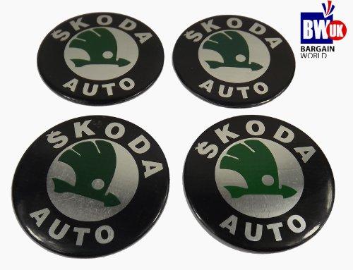 Skoda Centre Cap Car Wheel Adhesive logo Sticker Badge Wheel Trims hubs 60mm x 4