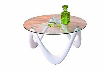 Links 20801360 Couchtisch weiß hochglanz Glastisch Beistelltisch Wohnzimmertisch Tisch modern