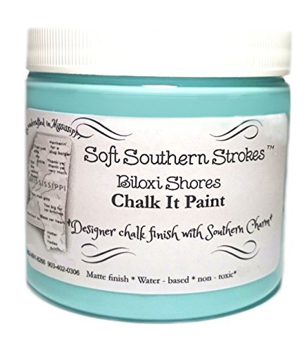 Chalk It Paint, Excellent Coverage on Furniture, Glass, Counter Tops and More!. No Sanding or Stripping Required. 8 Oz. (Select Color) (Biloxi Shores)