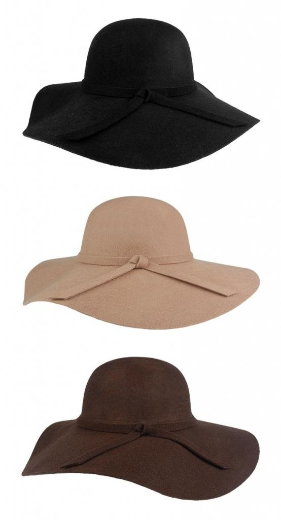 FUNOC Fashion Vintage Women Ladies Floppy Wide Brim Wool Felt Fedora Cloche Hat Cap 1