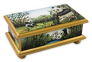 Glass box, 'Panda Family' - Reverse Painted Glass Wood Glass Jewelry Box