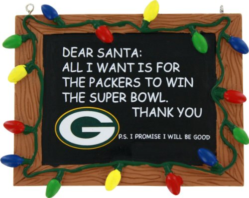 Green Bay Packers Official NFL 3 inch x 4 inch Chalkboard Sign Christmas Ornament
