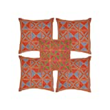 Rajrang Multi Color Cotton Geometrical Embroidered Cushion Cover Set Of 5 Pcs #Ccs05996
