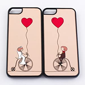 2pcs Heart Lover Couple Hard Case Cover Shell Compatible with iPhone 5 ideal for Valentine's Day Gifts