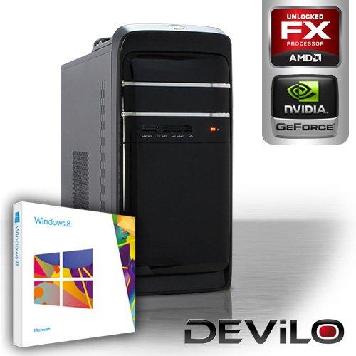DEViLO PC 1112 - AMD FX-6100 6x 3300 MHz (Turbo bis 3900 MHz) | 8GB DDR3-1333 | 2000 GB SATA2 | nVidia Geforce GT630 2048MB GDDR3, HDMI+DVI, HDMI+DVI | DVD-RW | ASUS M5A78L-M LX V2 | 6-Kanal-Sound | Gigabit-LAN | 420W | Microsoft Windows 8 64-Bit