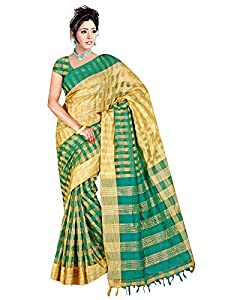 Winza New cotton silk fancy wedding saree with zari stripes for women girls