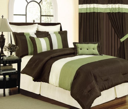 8 Piece Sage Green And Brown Faux Silk Comforter Set Bed-In-A-Bag, Queen Size front-801428