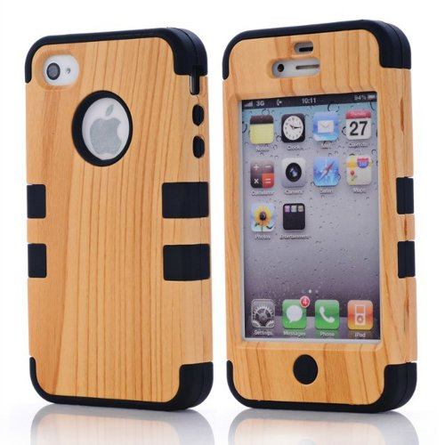 Meaci Apple Iphone 4 4S Case Hard Soft Wood-Plastic Composite&Silicone Combo Hybrid Defender Bumper (Black)