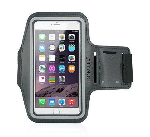 """Fascia da braccio nera per IPHONE 6 Plus / 6S Plus 5,5"""" Resistente all'acqua ed al sudore. Ultra leggera in neoprene elastico di alta qualità Velcro striscia riflettente per condizioni di scarsa illuminazione e fessure per il braccio doppie"""