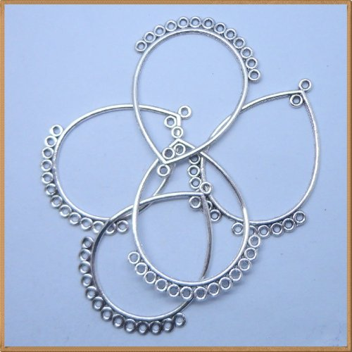 Tibetan silver Big Drop Shpae Charm Jewelry Beads Findings 5Pcs (25mm x 45mm)