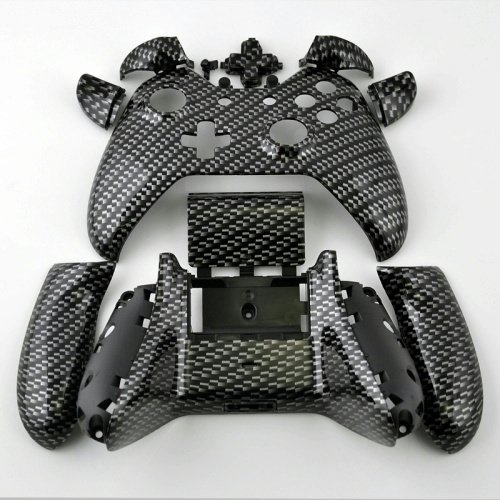 XBOX One Custom Hydro Dipped Black Silver Carbon Fiber Replacement Housing Shell Kits with Buttons For Controller image