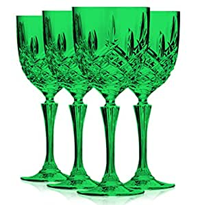 Markham by waterford hapwaterford set of four crystalline wine glasses full color - Waterford colored wine glasses ...