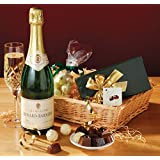 Free Delivery - CHAMPAGNE & CHOCOLATE CHRISTMAS HAMPER presented in a full steamed willow tray hand wrapped in a festive design with matching bow
