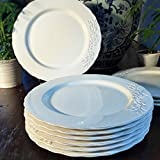 Set of 6 White Olive Branch Plates, 12 Inches Diameter (30cm), White Glazed Stoneware, By Whole House Worlds