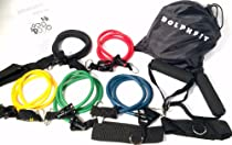 DolphFit Resistance Bands, Full Set with Door Anchor, Comfortable Handles, Workout Legs and Ankles, P90X Friendly Exercises, Crossfit Workouts, Best Resistance Bands with Logo Carrying Case