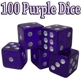 100 Purple Dice - 19mm