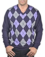 100% CASHMERE V-NECK ARGYLE SWEATER. MADE IN ITALY. H2