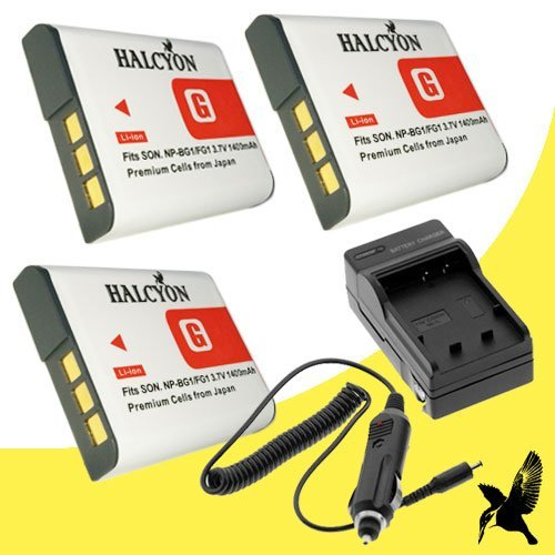 Three Halcyon 1400 mAH Lithium Ion Replacement Batteries and Charger Kit for Sony Cyber-shot DSC-N1 Digital Camera and Sony NP-FG1 sale 2015