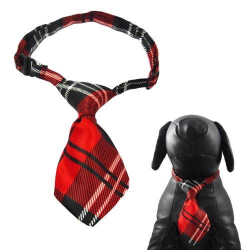 """Alfie Pet By Petoga Couture - Qun Formal Dog Tie And Adjustable Collar - Color: Red Plaid, Size: 12"""" - 16"""" For Dogs And Cats front-809482"""