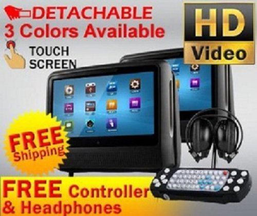 "Dual Black 9"" High Resolution Digital Screen Detachable Headrest Dvd Player Monitors Games And Cigarette Adapters Wireless Headphones"