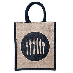 Honey & Bee Organic Jute Lunch-Bag,DINE-4 Design,Black-Portrait