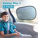 Kiddies Plus - Conjunto de 2 parasoles de coche con adherencia estática. Bloquea los peligrosos rayos ultravioleta y protege contra el cáncer + bolsa gratuita + ventosas. Adecuado para bebés, ventanillas, parabrisas, tren y para el hogar.