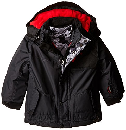 Big Chill Little Boys' Systems Coat with Puffer Vest, Charcoal, 6