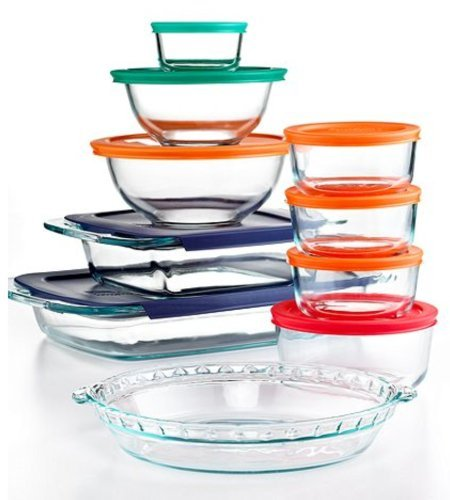 Pyrex Bake and Store 19 Piece Food Storage Container Set with Colored Lids (Pyrex Blue Pie compare prices)