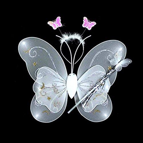 Jeu de la Fée de 3Pcs Clip Papillon Epingle de Style Stick Magique Bandeau Accessoires de Maquillage Party Cosplay pour Petite Fille(Blanc)