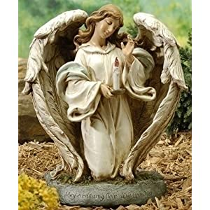 Click to buy Outdoor Christmas Lights: Joseph's Studio Solar Powered Angel With Candle Garden Statue 12