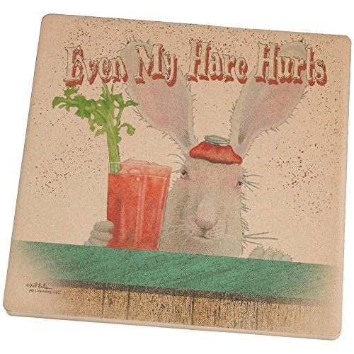 [My Hare Hurts Funny Rabbit Hangover Set of 4 Square Sandstone Coasters Multi Standard One Size] (Energizer Bunny Costumes)