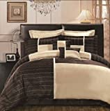 8 PC EXQUISITE BEIGE AND CHOCOLATE BROWN, FAUX SILK COMFORTER SET, OAKLAND  ....
