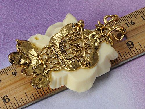 Vintage Inspired Tone Elegant Cream White Resin Enamel Rose Crystal Rhinestone Fashion Jewelry 2
