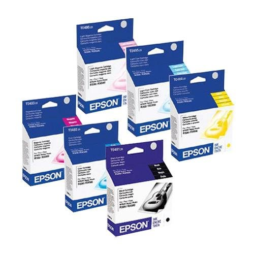 Epson T048 (T048120-T048620) OEM Genuine Inkjet/Ink Cartridges Combo for Epson Stylus Photo Inkjet Printers, Pack of 6